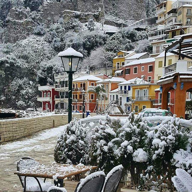 PARGA, GREECE. When it snows in Parga. Beautiful Epirus Greece..