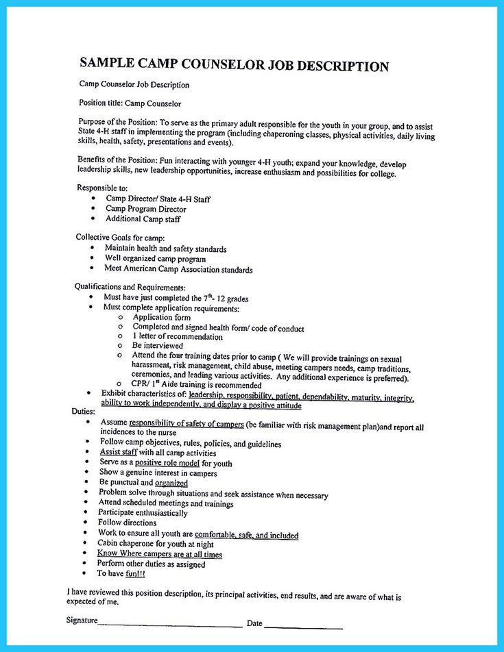 Best 25+ Camp counselor job description ideas on Pinterest - counseling resume sample