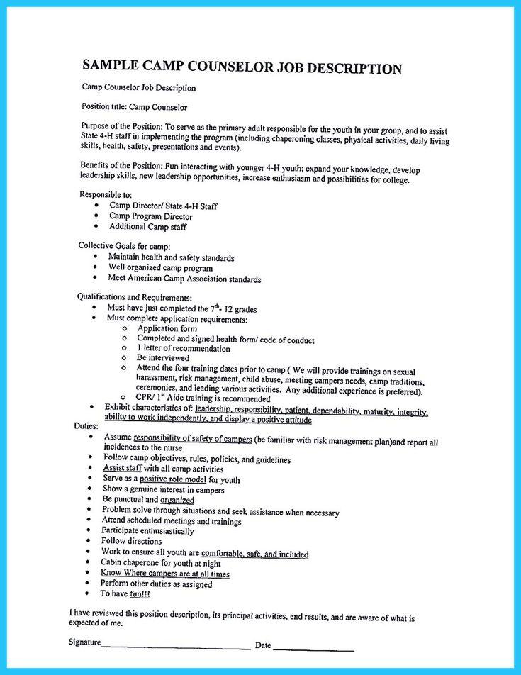 camp counselor duties resume - Gidiye.redformapolitica.co