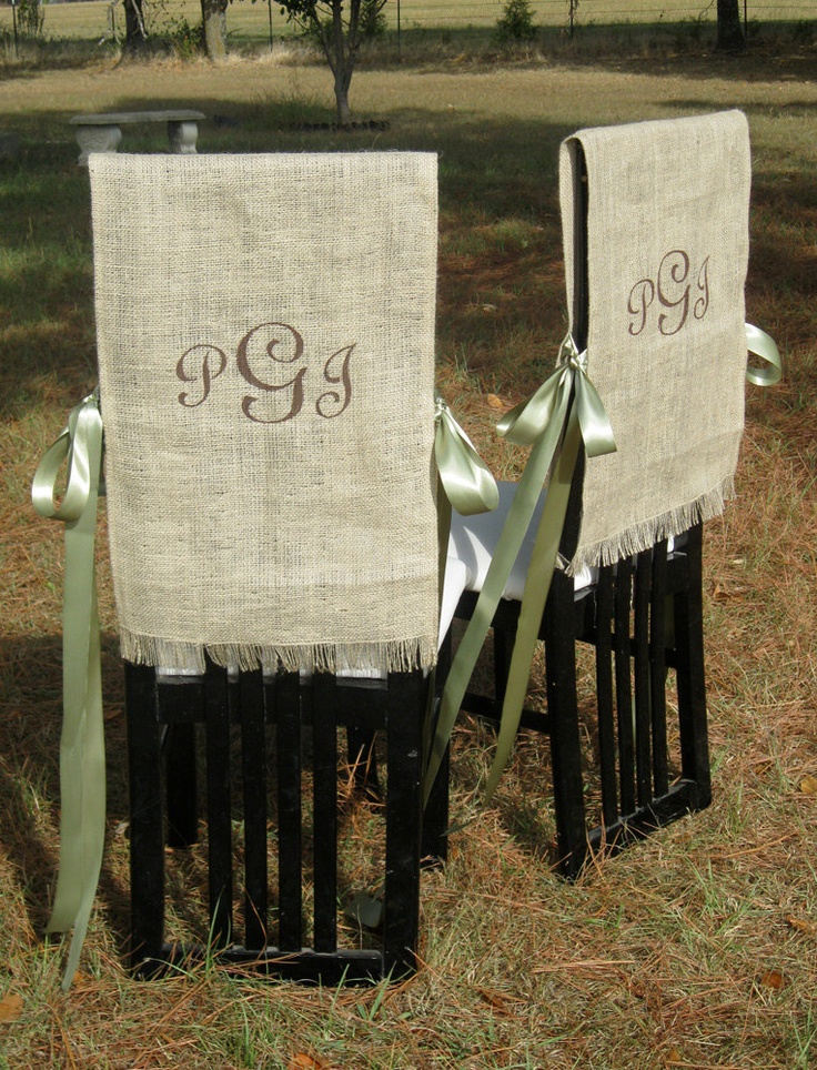 burlap bride and groom chair covers rustic wedding