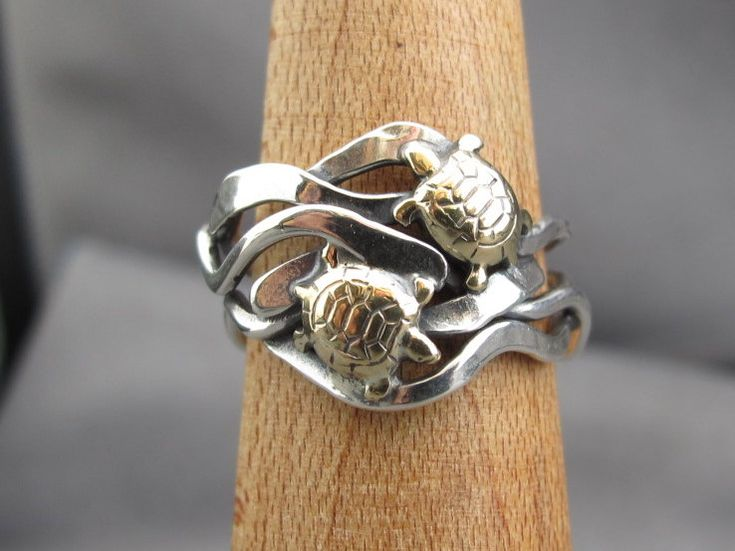 simplyMegA - Double Brass Turtle and silver kelp ring.