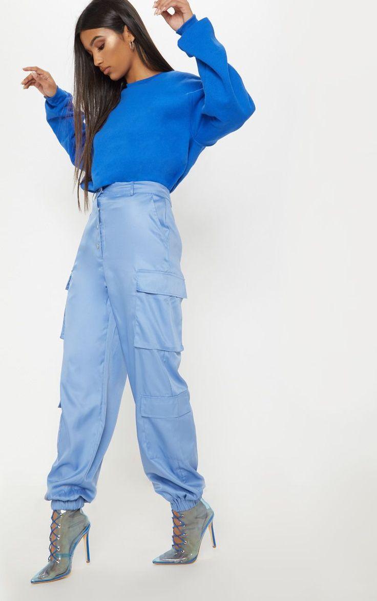 Dusty Blue Popper Front Cargo Pocket Trouser