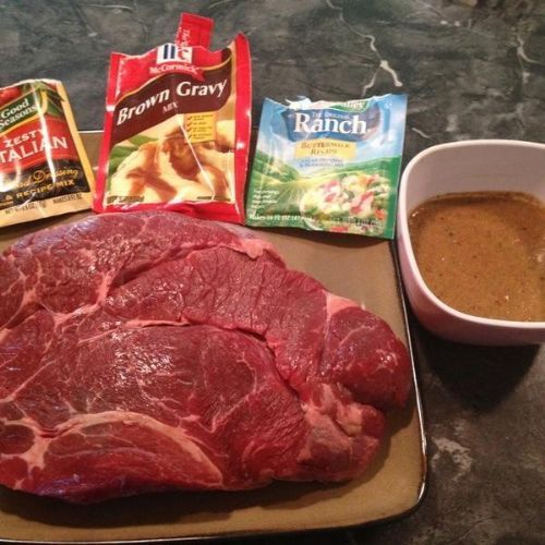 Easy Crock Pot Beef Roast  Easiest and most amazing roast ever. Combine the ranch, italian dressing and brown gravy packets with a 1/2 cup of water and pour over roast in a crock pot. Cook on low for 7 to 8 hours.