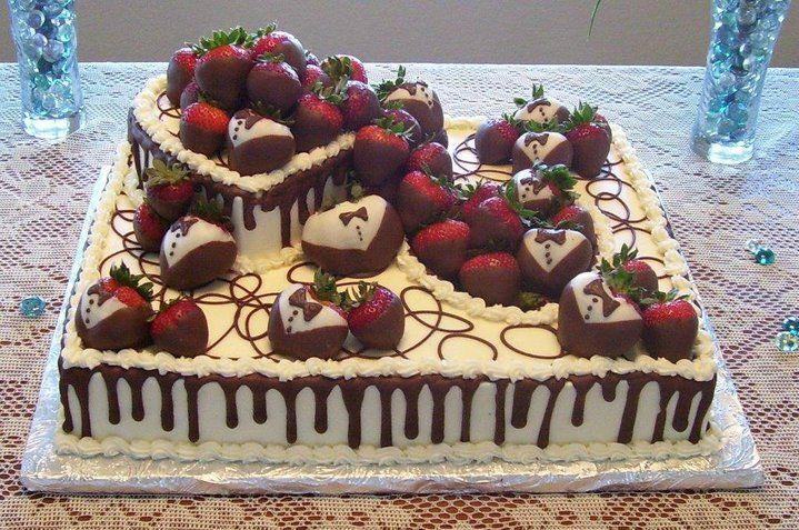 Heart Tuxedo Sheet Cake