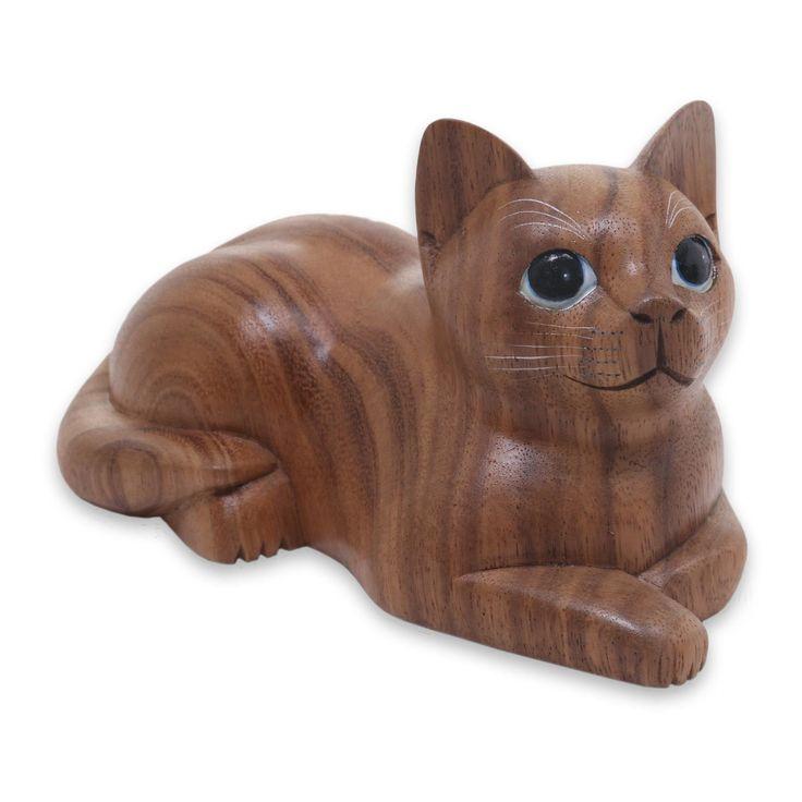 картинка деревянного кота увеличения