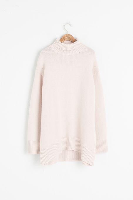 Loose Fit Turtle Neck Long Jumper, Pink, 95% Wool, 5% Cashmere