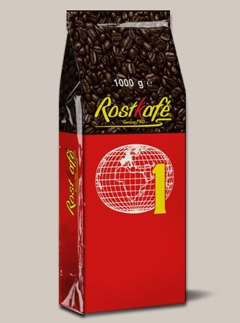 Caffè Rostkafè (Mappamondo rosso) - DESCRIZIONE: Miscela equilibrata con gusto pieno, ricco e corposo. IN GRANI