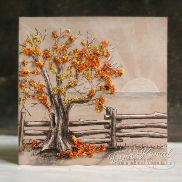 handcrafted greeting card from Mama Dini's Stamperia ... country scene with a tree in Fall colors and a branch fence ... exquisite coloring with Polychromos Pencils ... luv how Dina used Flower Soft for leaf texture ... gorgeous card!!