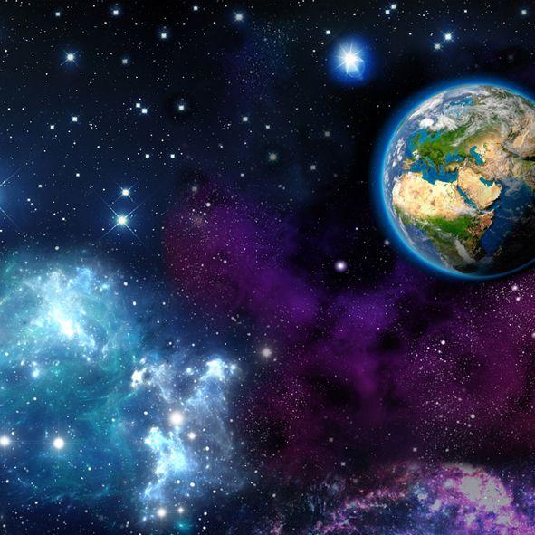 Bavlněná látka Planeta Země De luxe, digitální tisk