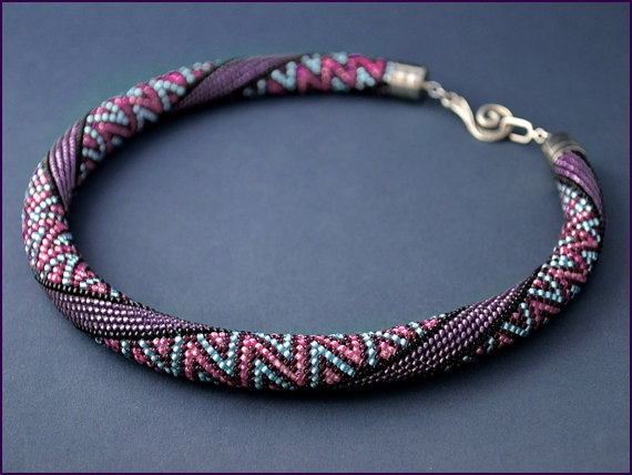Bead Crochet Necklace Ice cream with blueberries by Chudibeads, $115.00