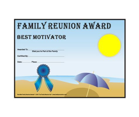 Great idea for family reunion awards theme for Free family reunion certificates templates