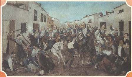 Juana Galán - June 6,1808, battle in Valdepeñas vs. Napoleon's troops, there was a lack of sufficient men to defend the village. She encouraged women to go out and fight. Other women poured hot water through windows and boiling hot oil on the road, while she was armed with a baton. She took to the street to fight against the French cavalry. Through this battle, the French army abandoned the province of La Mancha and was delayed at the Battle of Bailén, which ended in victory for the Spaniards.Valdepeña El