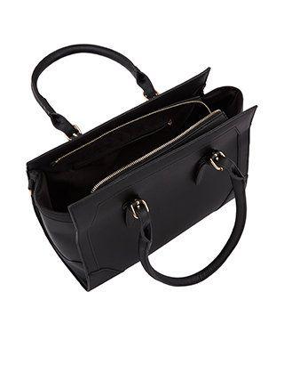 Metal Tab Shoulder Bag | Black | Accessorize