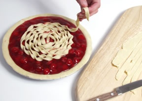 something different to try for the top crust of a pie; twist strips of pie dough in a spiral