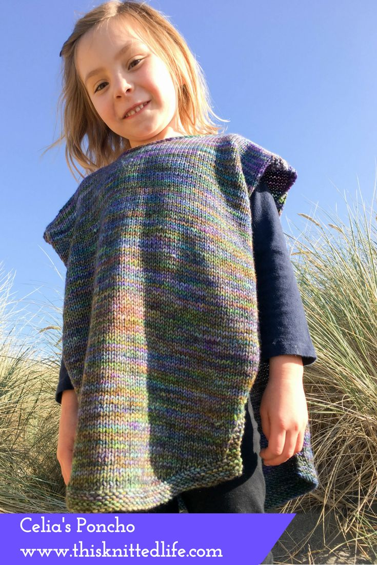 This straightforward poncho for kids is an easy knitting pattern. Yes, there are a few short rows and a bit of i-cord edging on the neck. And a wee bit of three-needle bind off to seam the shoulders. Mostly, however, it's just stockinette with a smidge of garter edging because folding and rolling knits increase my blood pressure significantly.