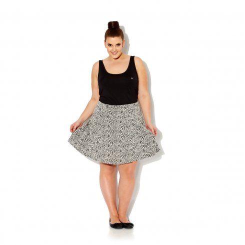 Charcoal & Ecru Rose Jaquard Skater Skirt