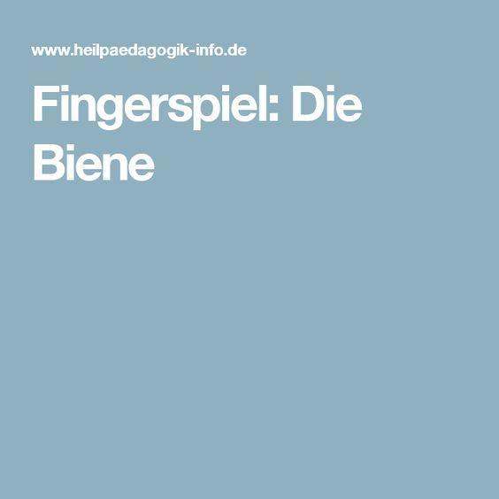 Fingerspiel: Die Biene