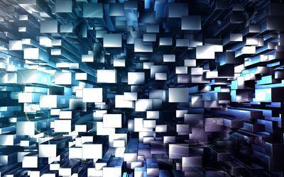 Floating white cuboids wallpaper