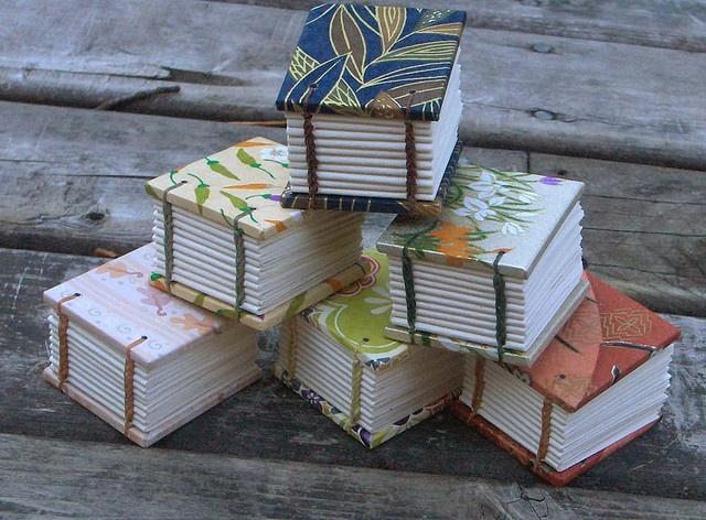 tiny handmade coptic stitch books by MyHandboundBooks