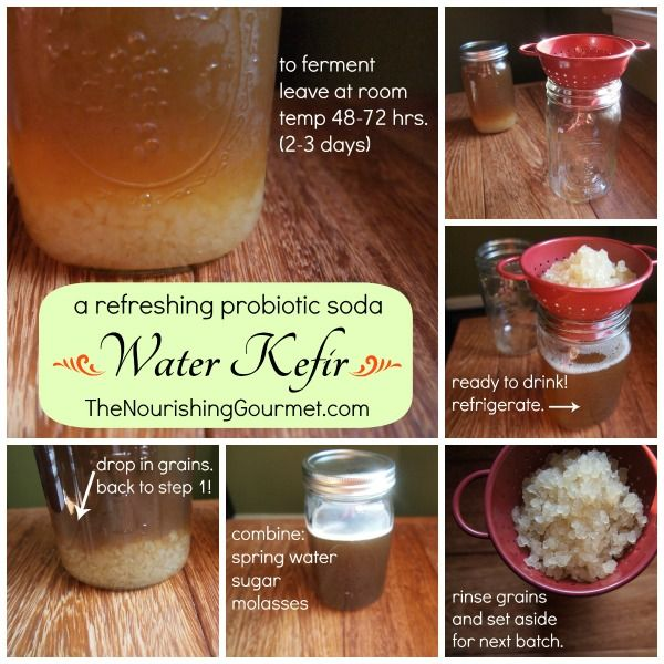 How to make Water Kefir - a probiotic soda.  An easy step-by-step guide plus many flavoring options!