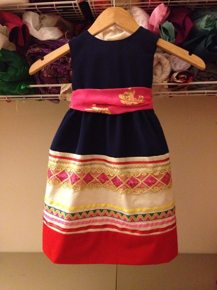 Hmong girl stripe dress
