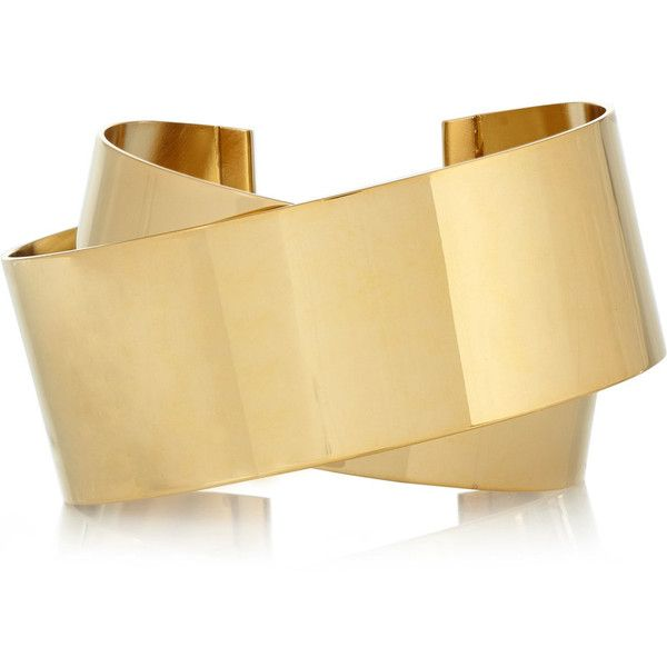 Isabel Marant Gold-plated cuff ($225) ❤ liked on Polyvore featuring jewelry, bracelets, gold, gold plated bangles, isabel marant, gold plated jewelry, cuff bangle and isabel marant jewelry