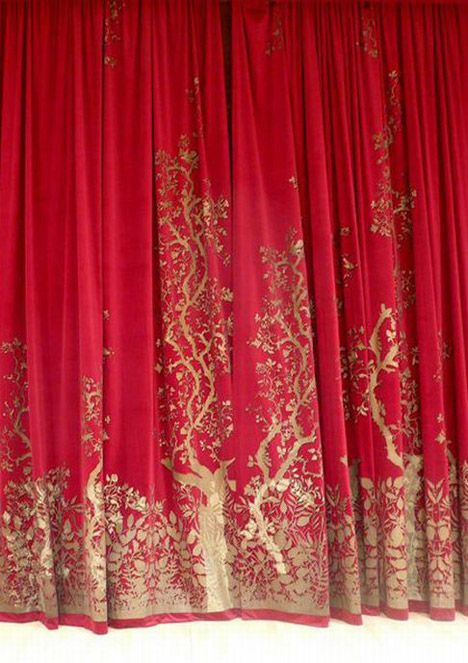 """""""Timorous Beasties produced hand-printed bespoke theatre curtains... for the main concert hall at the Royal Scottish Academy of Music Drama (RSAMD) in Glasgow. Timorous Beasties 'Birdbranch' design was scaled up and re-engineered to create an eye-catching design on bold, crimson velvet."""""""