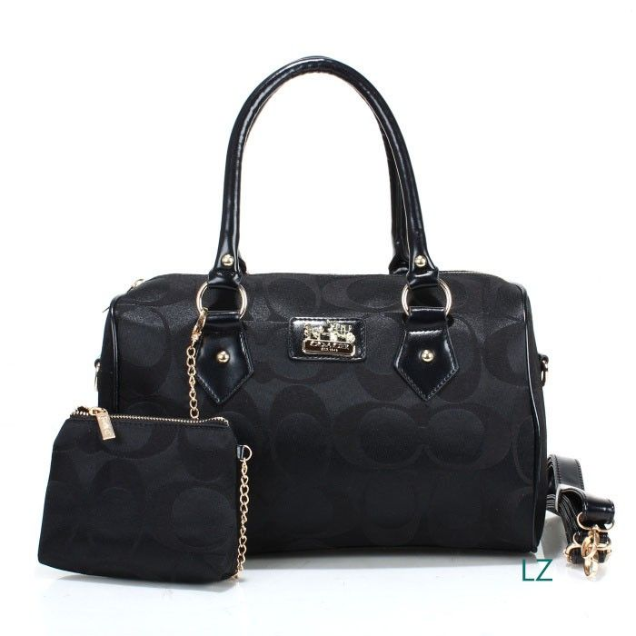 Coach Logo Monogram LZ704 Two-Piece Satchel In Black