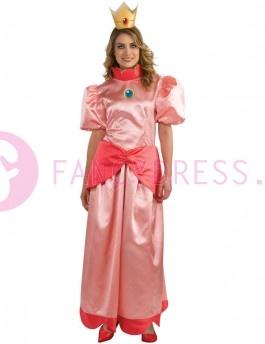 Princess Peach Super Mario Kostuum    Dit prinses perzik Super Mario kostuum bestaat uit:  Een lange roze jurk . Een goudkleurige kroon.    Maten voor dit kostuum zijn:  Medium vrouwen maat 40-42  Large vrouwen maat 44-46