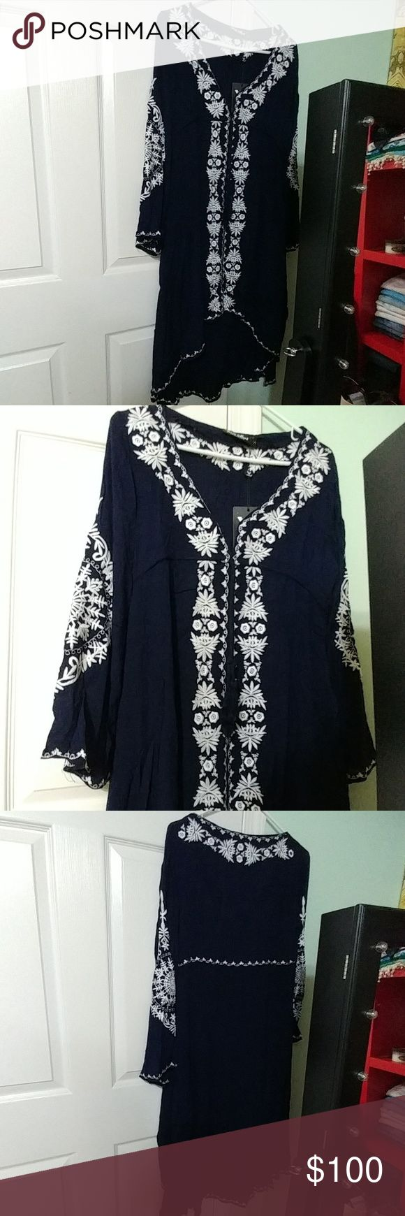 Dark blue and white beach dress by White Mark New with tags. Size Medium. Beautiful dress. White Mark Dresses Long Sleeve