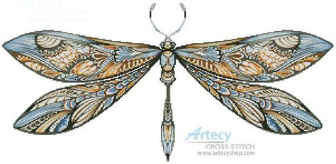 Artecy Cross Stitch. Dragonfly Cross Stitch Pattern to print online.