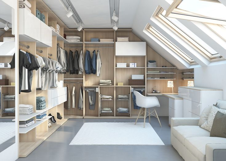 Light Loft Walk In Wardrobe Solution In Acacia Wardrobes