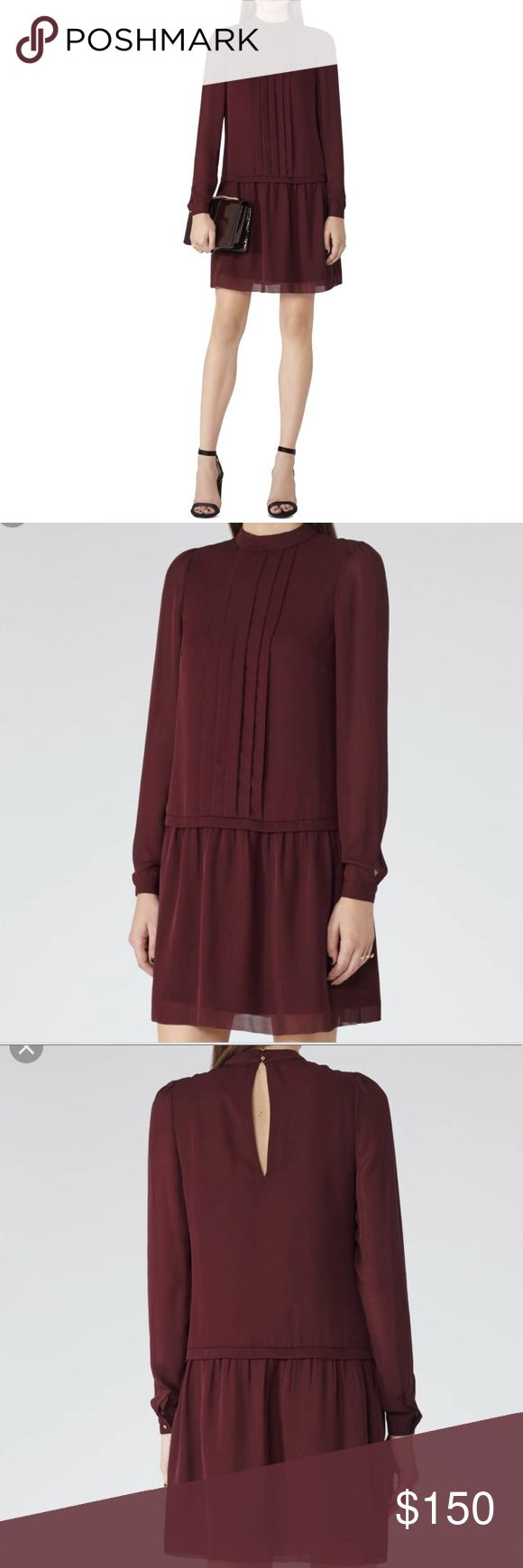 🆕 High-neck Shift Chiffon Dress - Dark Crimson NWT - US 4 (UK 8)  Cut from claret hued chiffon to an effortless loose fit, paired with gold button closure. Reiss Dresses Long Sleeve