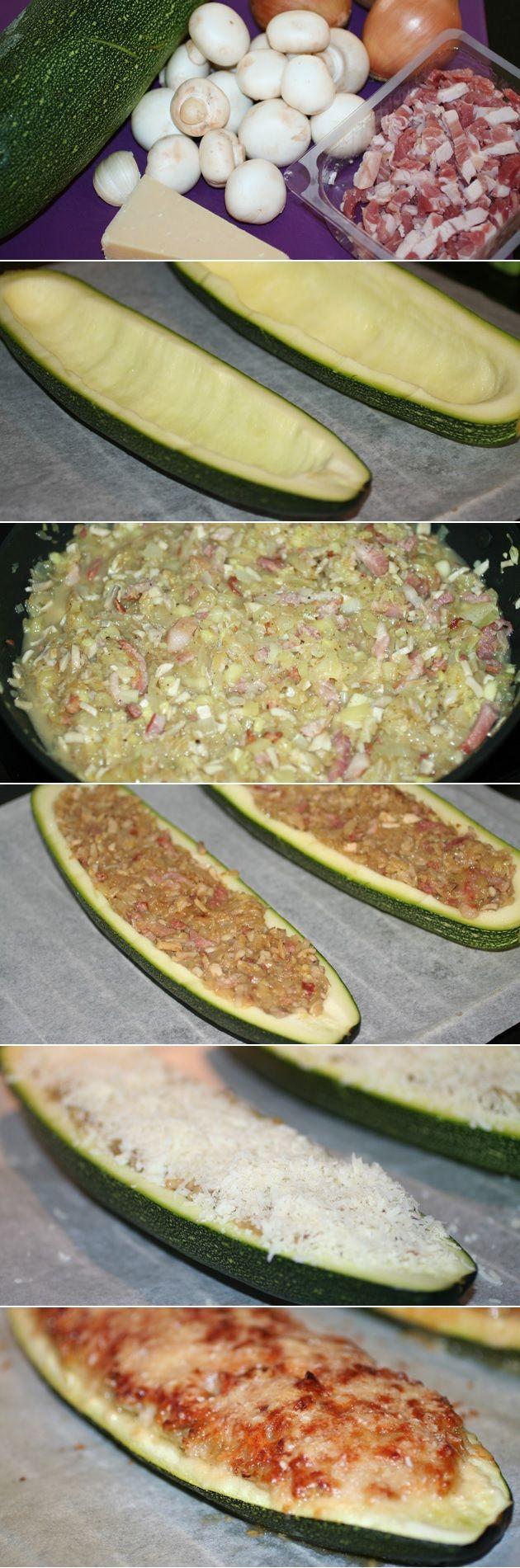Squash fyldt med bacon, ris og andre lækkerier er en fryd for ganen. Top med masser af parmesanost.
