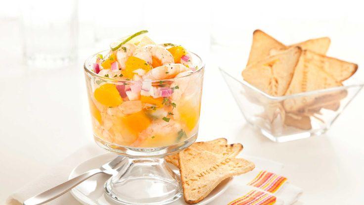 Ceviche de camarón con mango y Totopos de maíz Horneados Saníssimos