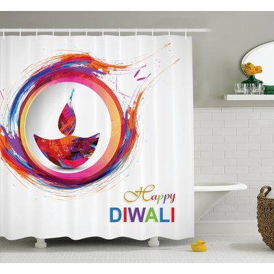"""World Menagerie Palmier Diwali Rainbow Themed Colored Modern Image of Diwali Celebration Candle Fire Print Shower Curtain Size: 69"""" W x 70"""" H"""