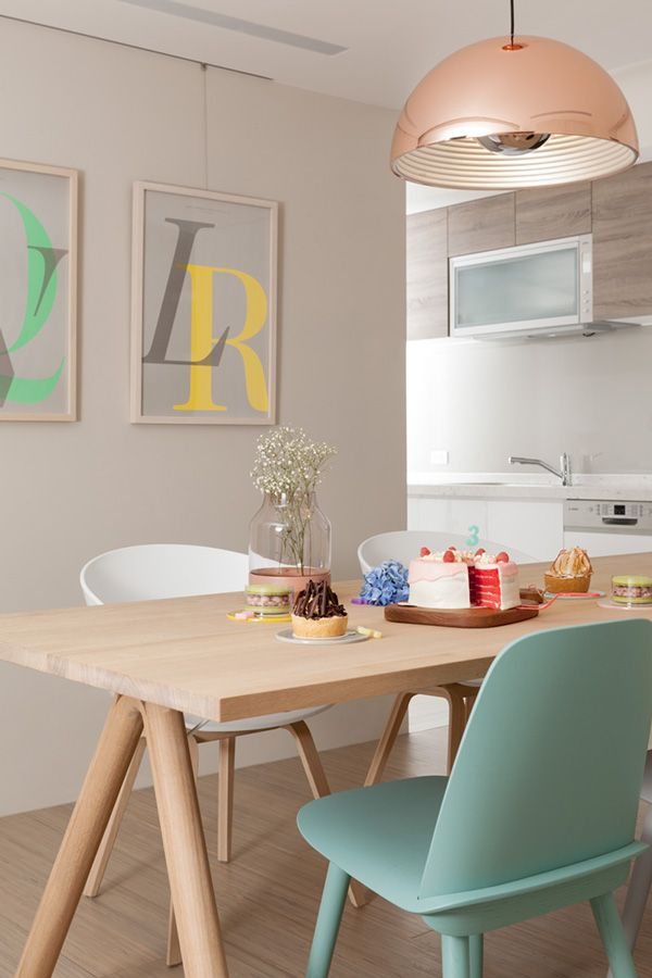 Beautiful Scandinavian Style Apartment - Love the Color Scheme - Soft Grey Walls + Pops of Colour!