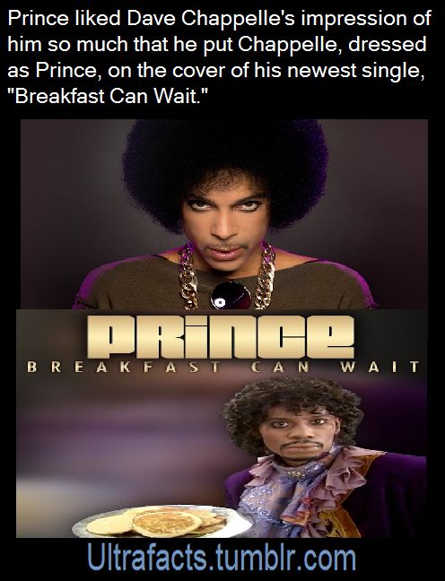 """Prince (the singer) actually saw this skit [x] by comedian Dave Chappelle and liked it so much that he decided to just put Dave dressed as him on the cover. Dave Chappelle 's reaction on The Tonight Show with Jimmy Fallon: """"You make fun of Prince in a sketch, and then he'll just use you in an album cover … What am I going to do? Sue him for using a picture of me dressed up as him? It's impossible!"""