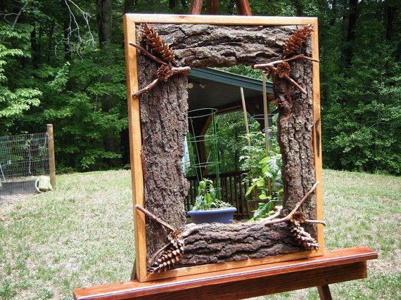 Rustic Red Oak and Pine Cone Mirror by LoRandRusticWoodwork