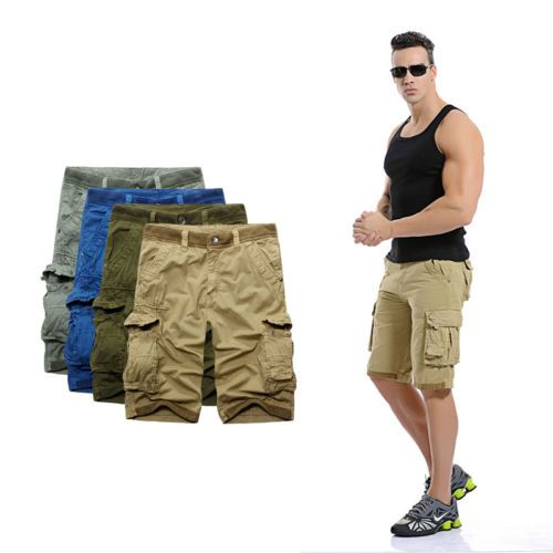 Summer Men Casual Shorts Pants Camouflage Baggy Cargo Shorts US 32-40