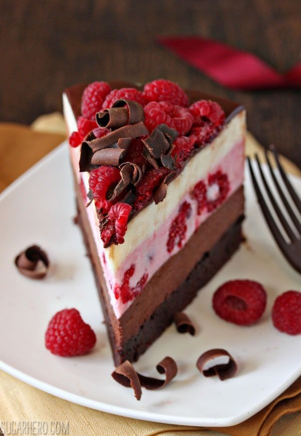 Chocolate Raspberry Mousse Cake | SugarHero.com