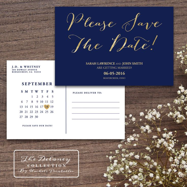 Gold & Navy Save The Date Printable Postcard - The Delaney Collection - classic, glamour, digital gold foil, simple, elegant by RachelsPrintables on Etsy https://www.etsy.com/listing/211213440/gold-navy-save-the-date-printable