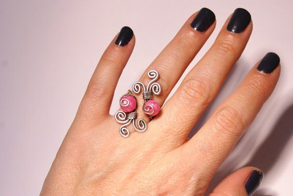 pink jade ring wire wrapped jewelry by BeyhanAkman on Etsy
