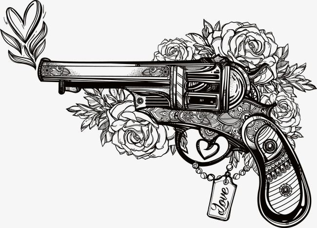 Hand Drawn Pistol Hand Painted Vector Pistol Png And Vector Romantic Tattoo Pistol Tattoo Picture Tattoos
