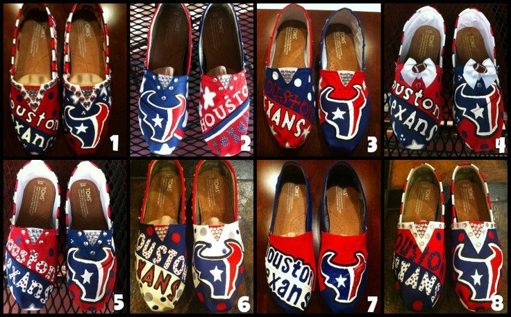 Handpainted Houston Texans TOMS Shoes. $120.00, via Etsy.com Awesome website.