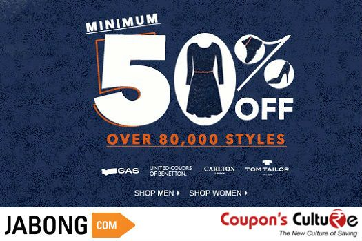 ‪#‎Jabong‬ ‪#‎Coupons‬ ‪#‎Jabongcoupons‬ Get minimum 50% Off on over 80,000 Men & Women Styles. ‪#‎Shop‬ Now