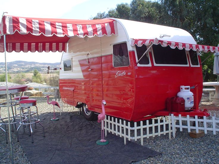 57 Shasta.: The Roads, Vintage Trailers, Red, Picket Fence, Vintagetrailers, Camps, Vintage Travel Trailers, Happy Campers, Vintage Campers