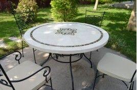 Tables De Jardin En Mosaique De Marbre Jardin Living Roc