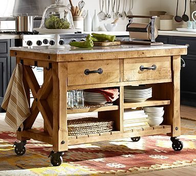 I dig that this is on wheels...great as everyday use or movable buffet for entertaining!Hamilton Reclaimed Wood Marble-Top Kitchen Island - Large from potterybarn