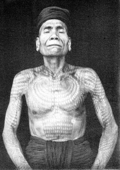 A Dayak man's tattoos, sourced from http://www.vanishingtattoo.com/borneo_tattoos.htm #borneo #dayaks #tattoo #sarawak